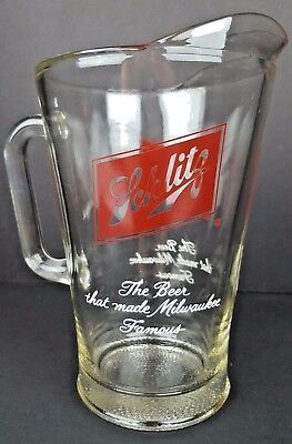 Vintage Schlitz Beer Clear Tall Glass Pitcher Man Cave Bar Room Advertisement