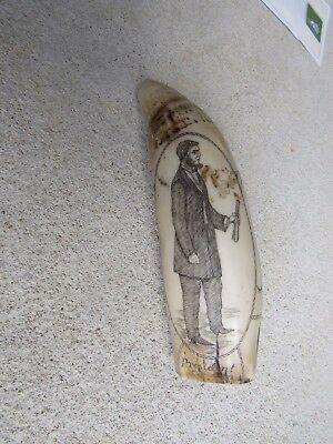 Scrimshawed Whales Tooth, Abe Lincoln on one side THE SOUTHERN STAR  Replica #6