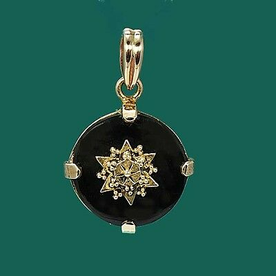 Gorgeous Vintage Antique Gold Victorian Style Black Onyx Pendant Enhancer