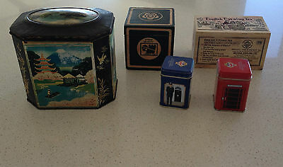 5 X Tea Tins & Boxes - Vintage & Antique