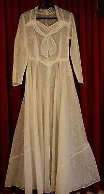 SMALL, 1950's FLOCKED WHITE WEDDING DRESS. ORIGINAL VINTAGE. NO PETTICOAT.