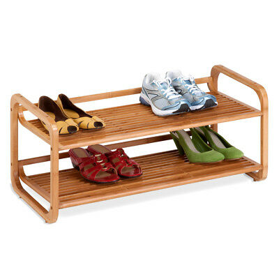 NEW Honey Can Do 2 Tier Bamboo Shoe Rack