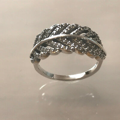 Genuine S925 Sterling Silver Feather Ring sizes 52, 54 & 56