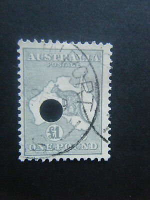 ROO. £1 GREY V.F.U. C.of A. WMK. TELEGRAPH PUNCTURE. NICE CLEAN STAMP. SEE SCANS