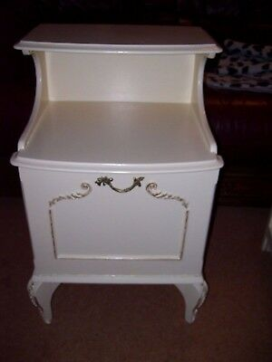 French Louis Style Cream And Gilded Bedside Cabinet / Chest C.1970/80