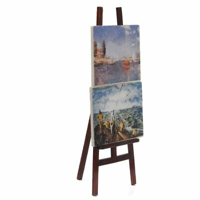 1:12 Doll house Miniature artist easel with 2 paintings pictures Y7Q9