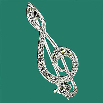Solid Sterling Silver 925 Marcasite Treble Clef Brooch Pin Musical Musician Gift