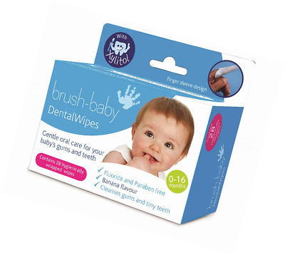 Brush-Baby Dental Wipes, Clean Mouth, 0-16 months, 28 wipes