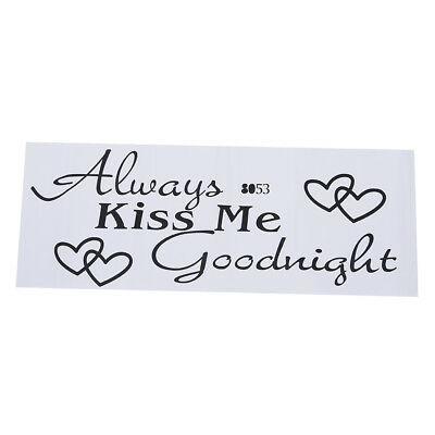 Kiss Me Goodnight Quote Black Words Room Art Mural Wall Sticker Decal  BF