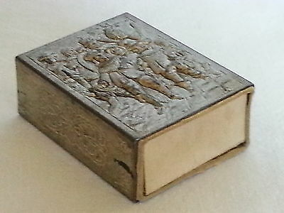 Silver plate vintage Victorian antique Cavalier scene match box cover