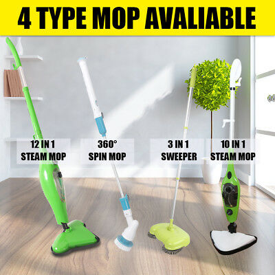 10/12 in1 Steam Mop /3 in1 Spin Sweeper /360° Spin Mop Cleaning Floor Carpet AU