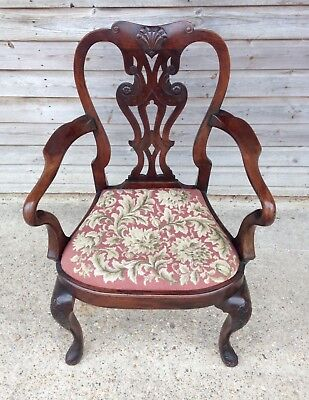 A  Fine 19th Century Mahogany Arm Chair In The Manner Of Giles Grendey