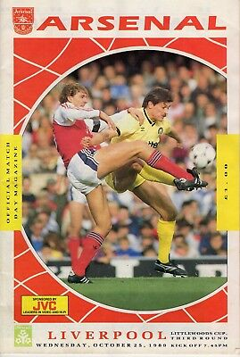 Arsenal Football Club vs Liverpool, Littlewoods cup, Oct 25th 1989