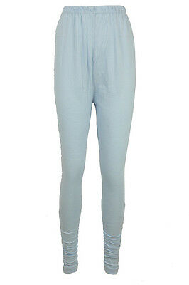Women Ethnic Indian Baby Blue Ruched Ankle Churidar Legging Bottoms Pants