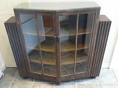 Art Deco Style Solid Wood Display Cabinet With End Bookshelves (Le65)