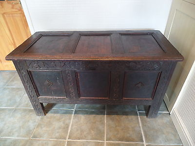 Antique Oak Coffer/blanket Box Circa 178O's (Le65)