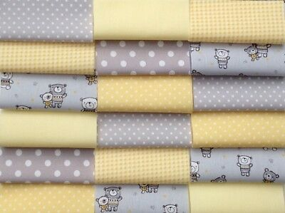 "Fabric patchwork squares 30 x 4"" 10cm cotton quilting craft baby grey yellow 2C"