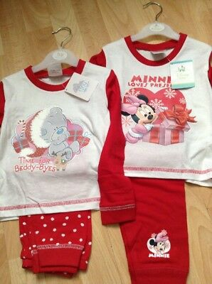 2 Pairs Of Baby Girl Christmas Pyjamas Me To You & Minnie Mouse Age 18-24 New!