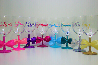 Personalised Name Glitter Wine Glass Birthday Wedding Hen Party Gift Present