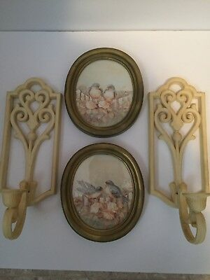 HOMCO Vintage 4 Piece Set. 2 Sconces And 2 Bird Pictures.