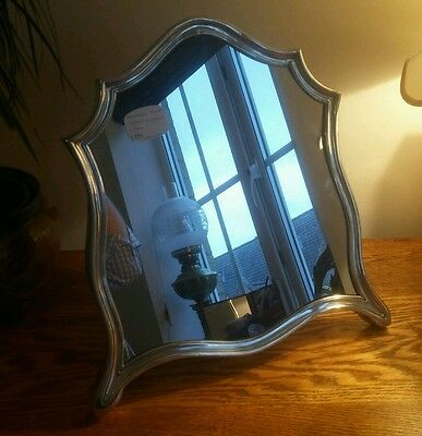 FABULOUS LARGE TOP QUALITY SHIELD SHAPED AUSTRIAN SILVER FRAMED MIRROR c.1890