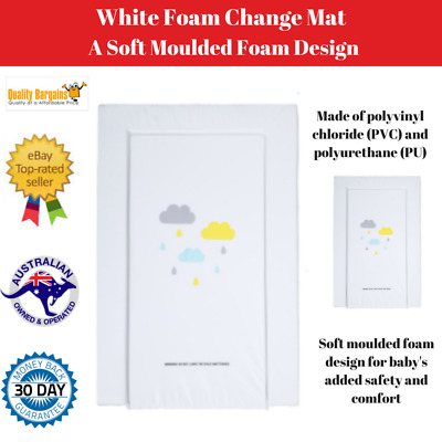White Waterproof Foam Change Mat Baby Nappy Changing Table Infant Nursery Cover
