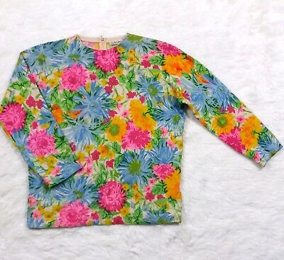 VTG Floral All Cashmere Sweater Large 44 in Bust Scotland Vivid Pink Blue w Zip