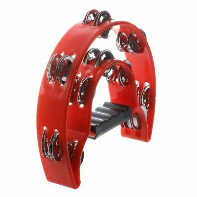 Hand Held Tambourine Double Row Metal Jingles Percussion Red BF