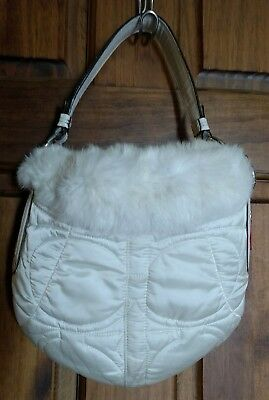 bebcafd011 COACH 3586 RABBIT Fur Leather Trimmed Bag Quilted Signature Soho Ski ...