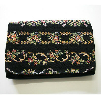 Vintage 50s 60s Black Floral Woven Clutch Purse Prestige Handbags NSW