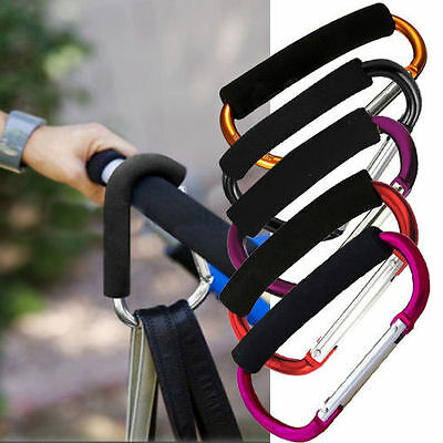 4x Universal Large Buggy Mummy Clips Pram Pushchair Shopping Bag Hooks Carabiner