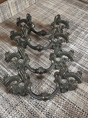 Lot Of 4 Vintage Solid Brass French Provincial Drawer Handles Pulls