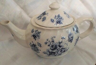 Staffordshire (England) Blue Floral On White Teapot, Mint