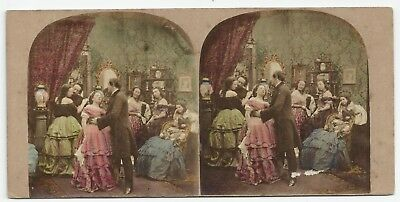 "Stereoview Genre ""That delightful Waltz"" Crinoline Stereoviewer London 1850er"