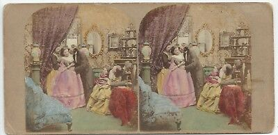 """Stereoview Genre The Mistletoe Bough """"The Attack"""" Stereoviewer London ca. 1860"""