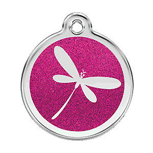 Dragon Fly Bug Glitter Pet Dog Cat ID Tag Personalized Engraved Steel Tags Dingo
