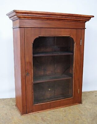 Victorian Mahogany Wall Cupboard, Antique Glazed Cabinet With Key,Old Furniture