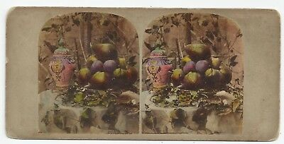 Stereo Stereoview Genre Still Life with Fruit ca. 1860