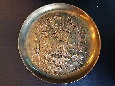 Vtg Persian  Middle East Brass/copper Wall Hanging Plate Plaque