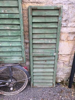 VINTAGE WOODEN SHUTTERS WINDOW cm 139.5 TALL DOORS FRENCH  RECLAIMED   FREE post