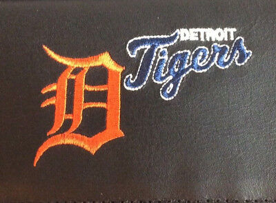 MLB Detroit Tigers Black Leather Checkbook Officially Licensed Embroidered New