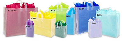 LOT 10 Frosty Shopping Plastic Bags CLEAR  Merchandise Gift BAG 16x6X12