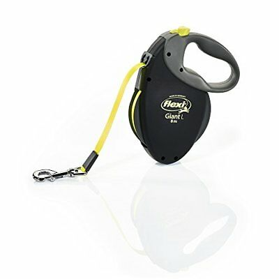 Flexi Giant L Retractable Dog Leash (Tape), Large, Black/Neon