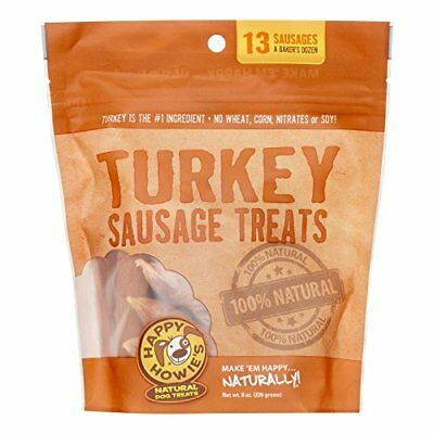 "Happy Howie's Sausage Dog Treat 4"" Baker's Dozen (Turkey) 8 OZ"