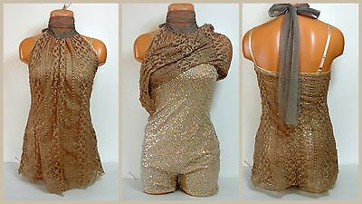 Professional Adult Gold Sequin Ballroom Dance Dress/Short Costume Outfit