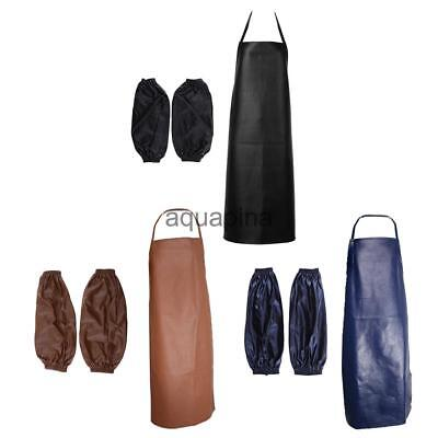 Black Navy Brown PU Waterproof Apron +Sleeves Cuffs for Protective Smocks