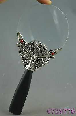 collection decorative old miao silver carve flower inlay lucky magnifying glass