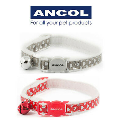 Ancol Reflective  Cat Collar Gloss Hearts Soft Red Silver Safety Buckle
