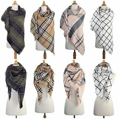 Women's Cashmere Feel Blanket Checked Plaid Scarf Large Square Winter Shawl Wrap