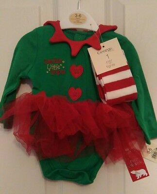 bnwt GEORGE BABY CHRISTMAS GIRLS ELF HELPER OUTFIT AGE 3-6 Mths L/S TOP & TIGHTS